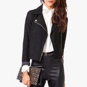 Black Lace Moto Jacket Lined EUC M